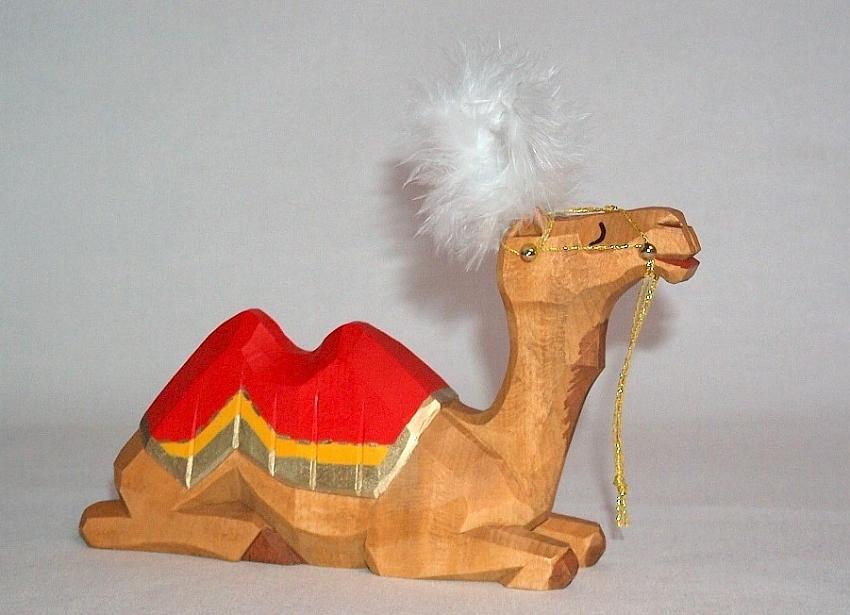 Sievers-Hahn Krippenfigur Kamel liegend aufgezäumt, 14 cm hoch Art. 1171