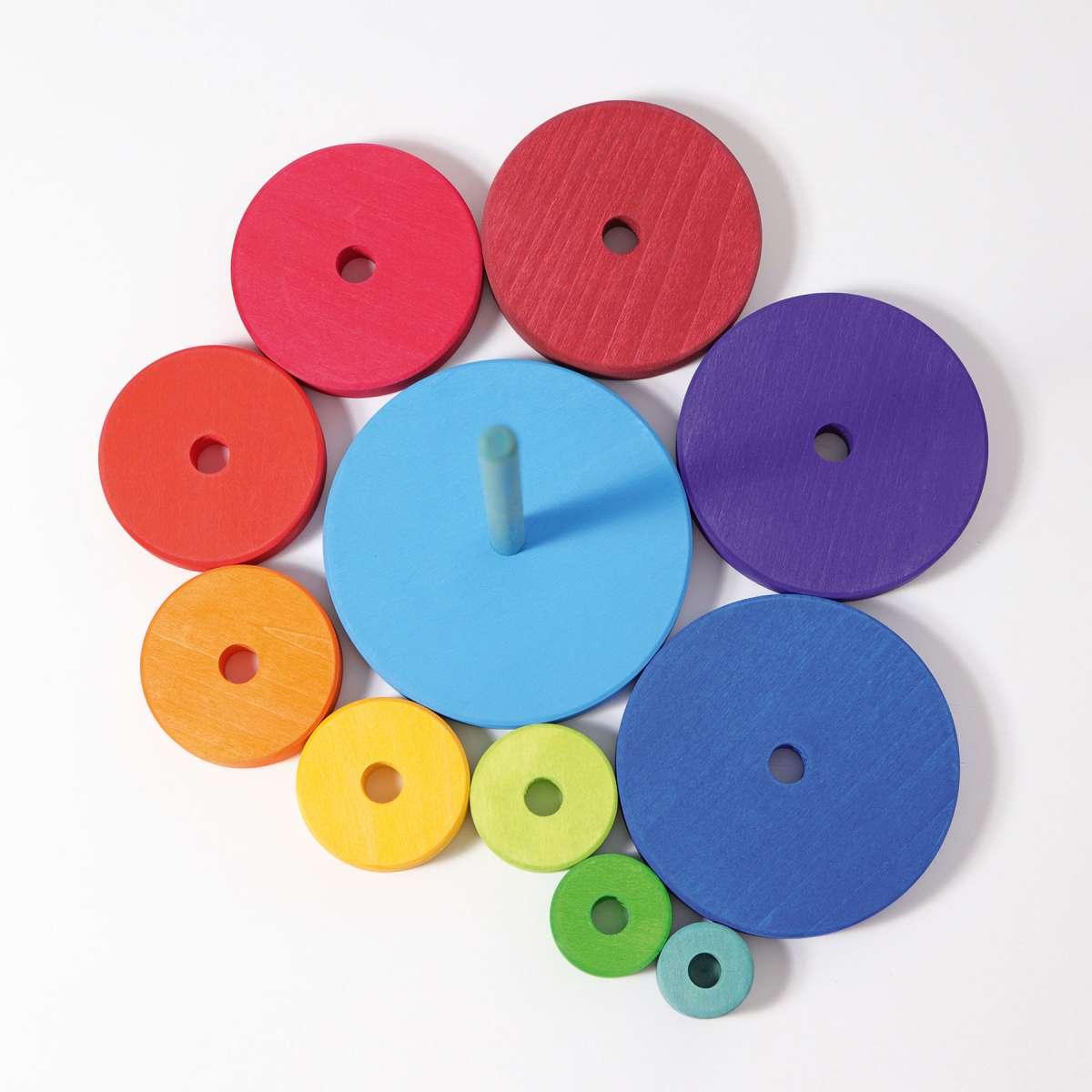 Grimms Scheibenturm, in den Farben des Regenbogens lasiert, 11 Teile, Buchenholz, ab 1 Jahr