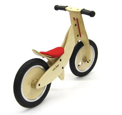Kokua LIKEaBIKE mountain mini , roter Sattel,  Laufrad aus Birkenmultiplex rot