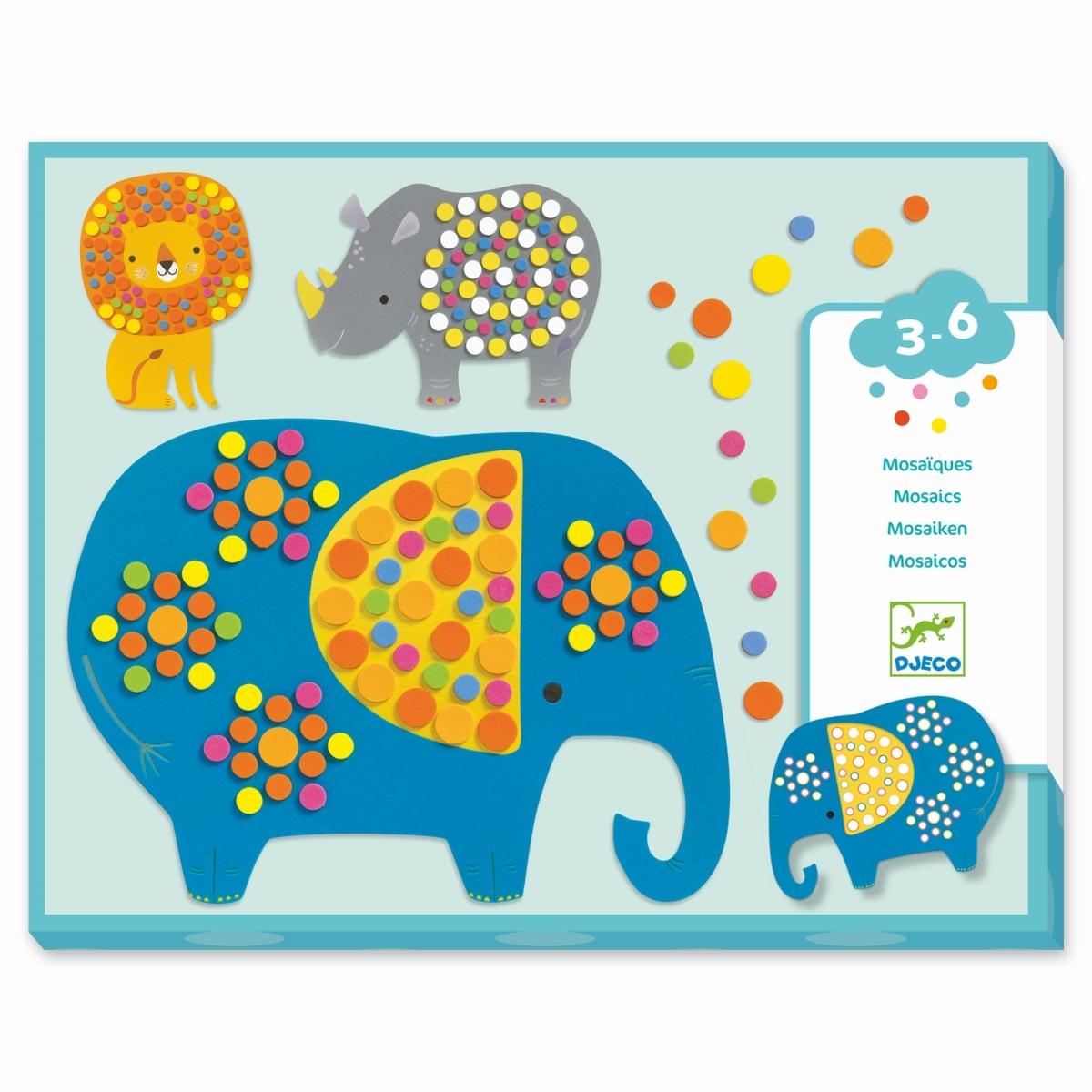 Djeco Mosaiken mit Motiv Dschungeltiere, Alter 3-6 Jahre