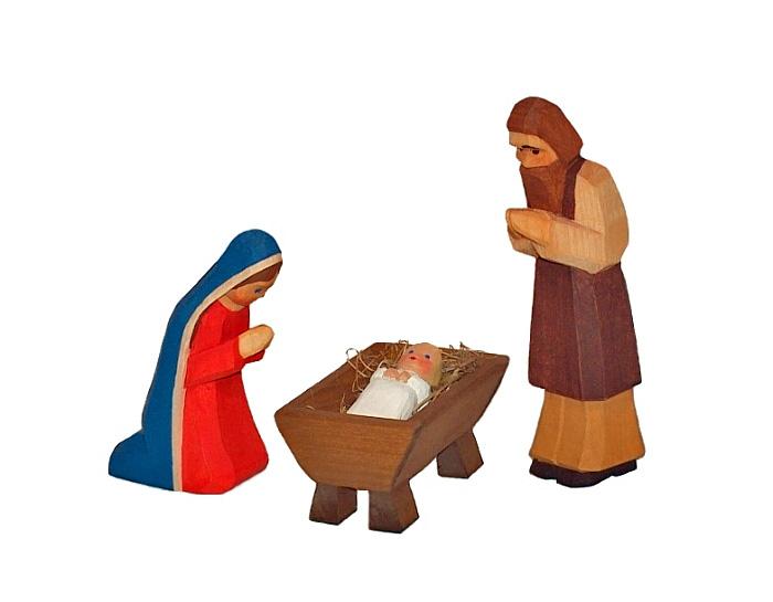 Sievers-Hahn Krippenfiguren Heilige Familie 3tlg., Maria, Josef, Kind in der Krippe mit braunem Haar