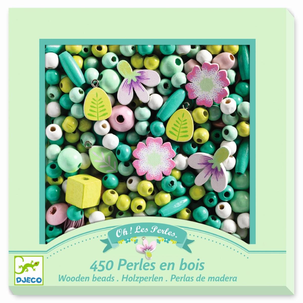 Djeco Schmuck-Set mit 400 Holzperlen Grundfarben in grün, ab 4 jahren
